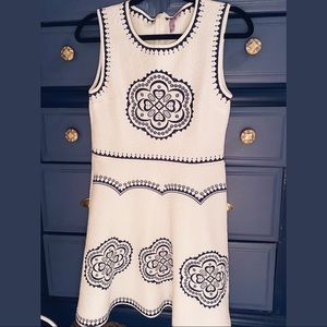 White and navy embroidered dress